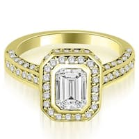 2.00 cttw. 14K Yellow Gold Pave Emerald Cut Halo Engagement Diamond Ring