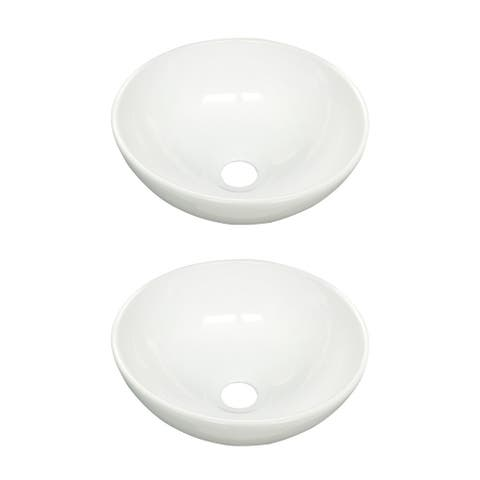 """Round Above Counter Bathroom Sink 11.25"""" Dia White Ceramic Pack of 2"""