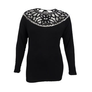 Jessica Simpson Women's Plus Size Crocheted Top (2X, Black) - Black - 2x