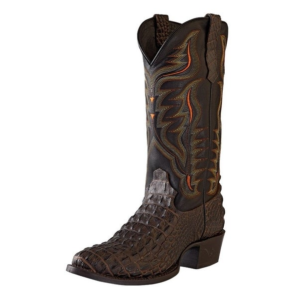 Outlaw Western Boots Mens Round Caiman Print Brandy Hornback