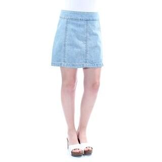 FREE PEOPLE $58 Womens New 1111 Light Blue Mini A-Line Casual Skirt 10 B+B