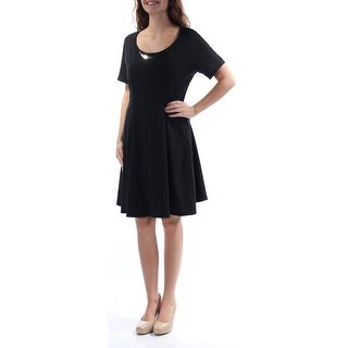 Womens Black Short Sleeve Knee Length Fit + Flare Dress Size: S
