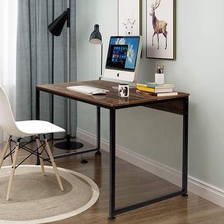 VECELO Home Office Computer Desk Modern Style Metal and Wood Studio Desk