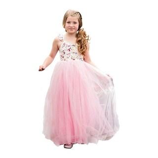 Little Girls Pink Floral Top Bow Skirt Ruffle Lillian Flower Girl Dress