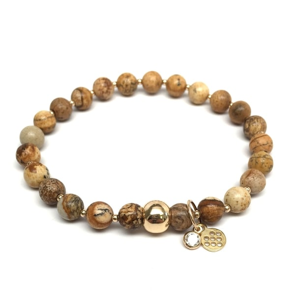 "Brown Jasper Lily 7"" Bracelet"