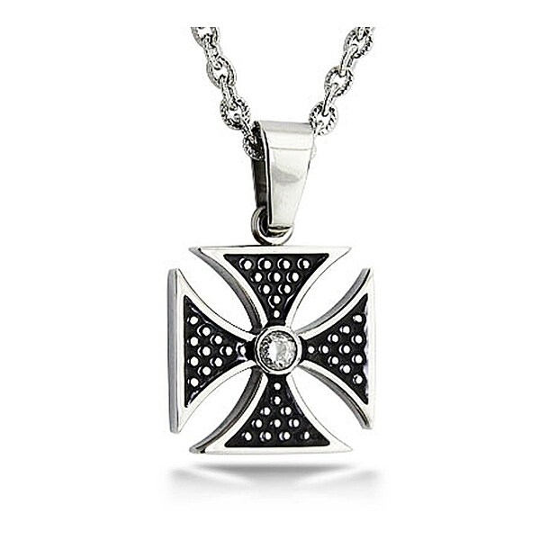 Stainless Steel Biker Cross Pendant