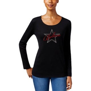 Karen Scott Womens Petites Pullover Sweater Studded Embroidered
