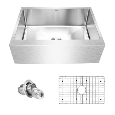 "Inoxs 33"" x 21"" x 10"" Farmhouse Apron Front Single Bowl 16 Gauge Stainless Steel Kitchen Sink/I-AES3321"