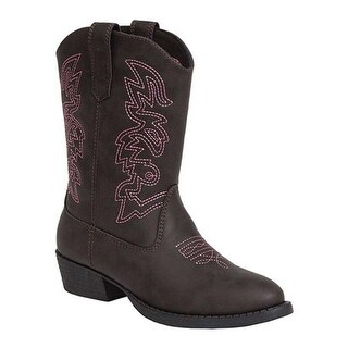 Deer Stags Children's Ranch Western Boot Dark Brown/Pink Simulated Leather