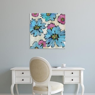 Easy Art Prints Silvia Vassileva's 'Graphic Pink and Blue Floral II' Premium Canvas Art