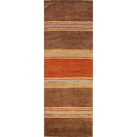 "Modern Stripe Gabbeh Kashkoli Oriental Wool Runner Rug Hand-knotted - 2'6"" x 7'10"""
