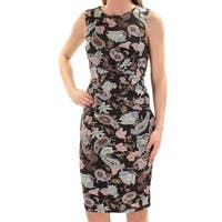 CATHERINE MALANDRINO Womens Blue Paisley Sleeveless Jewel Neck Knee Length Sheath Dress  Size: 2