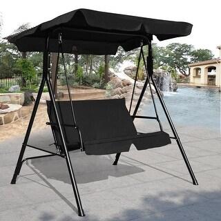 Costway Loveseat Patio Canopy Swing Glider Hammock Cushioned Steel Frame Outdoor Black