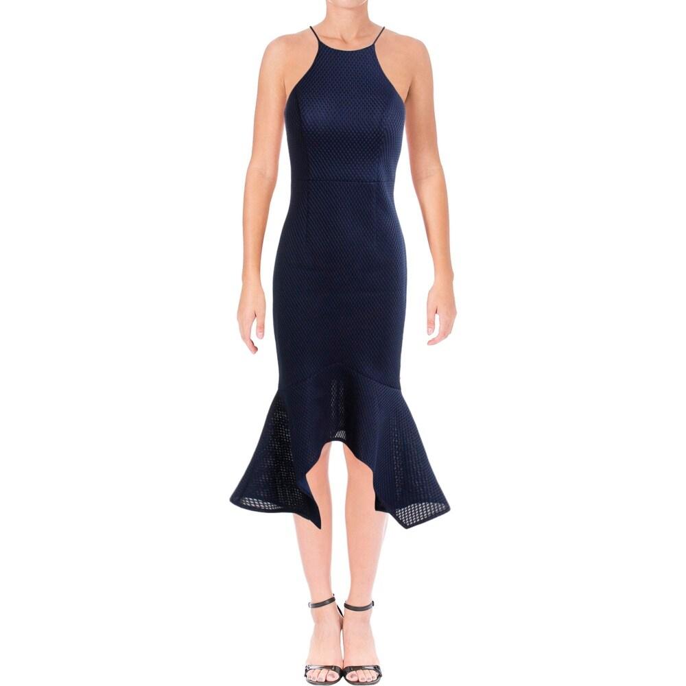 Bariano Womens Katerine Evening Dress Textured Flounce Hem