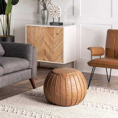 nuLOOM Faux Leather Round Filled Ottoman Pouf