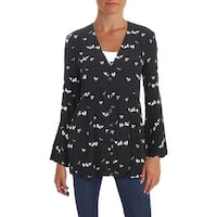4Our Dreamers Womens Button-Down Top Bell Sleeves Printed