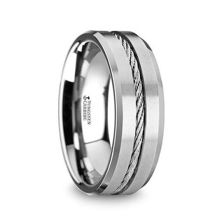 THORSTEN - LANNISTER Men's Tungsten Flat Wedding Band with Steel Wire Cable Inlay & Beveled Edges
