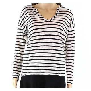 Splendid NEW Beige Womens Size XS Striped Button V-Neck Knit Top