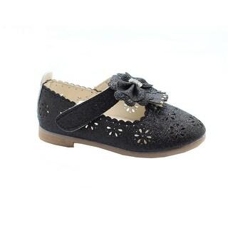 Little Girls Black Glitter Rhinestone Scalloped Bow Dress Shoes