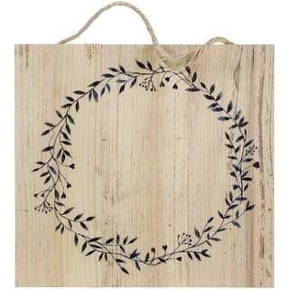 "Wood Pallet Sign W/Jute & Wreath Design-10.5""X10"""