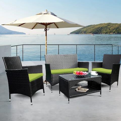 4 PCS Patio Furniture Outdoor Garden Conversation Wicker Sofa Set, Green CushionsBlack Wicker