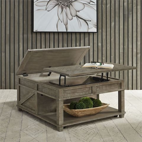 Parkland Falls Weathered Taupe Square Lift Top Cocktail Table