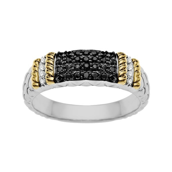 3/8 ct Black and White Diamond Ring in Sterling Silver and 14K Gold