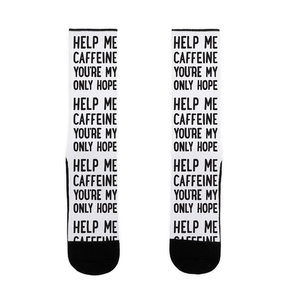 LookHUMAN Help Me Caffeine You're My Only Hope US Size 7-13 Socks