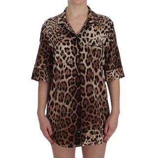 Dolce & Gabbana Leopard Silk Stretch Sleepwear Shirt Blouse