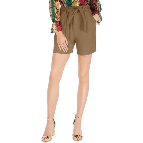 INC Women's Shorts Brown Size 12 Solid Paperbag Tie High-Waist Stretch