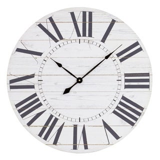 "Aspire Home Accents 5865  Estelle 23"" Diameter Wood Analog Clock - White"