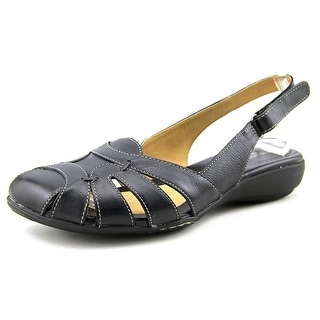 Naturalizer Cyrus Women N/S Round Toe Leather Black Slingback Sandal