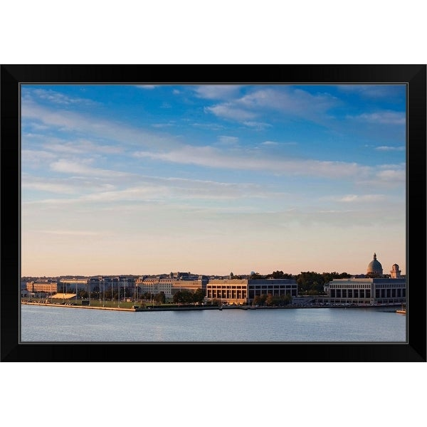 """""""Buildings at waterfront, US Naval Academy, Severn River, Annapolis, Maryland"""" Black Framed Print"""