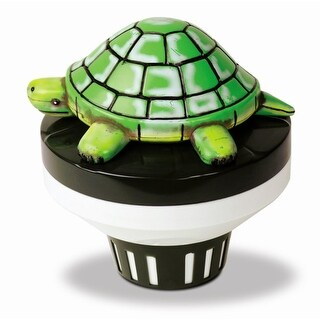 "7.5"" Green and White Turtle Floating Swimming Pool Chlorine Dispenser"