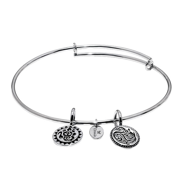 Chrysalis 'Lucky Ganesh' Expandable Bangle in Rhodium-Plated Brass