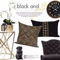 "G Home Collection Luxury Black and Gold Geometry Pattern Embroidered Pillow 20""X20"" - Thumbnail 4"
