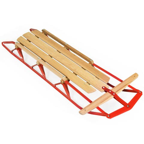 "54"" Kids Wooden Snow Sled w/ Metal Runners & Steering Bar"