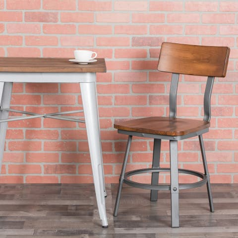 """Rustic Walnut Restaurant Chair with Wood Seat & Back and Gray Powder Coat Frame - 16.25""""W x 22.25""""D x 33.5""""H"""