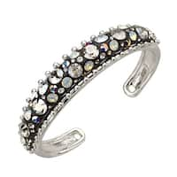 Crystaluxe Black Resin Dome Cuff with Swarovski Crystals in Sterling Silver - White