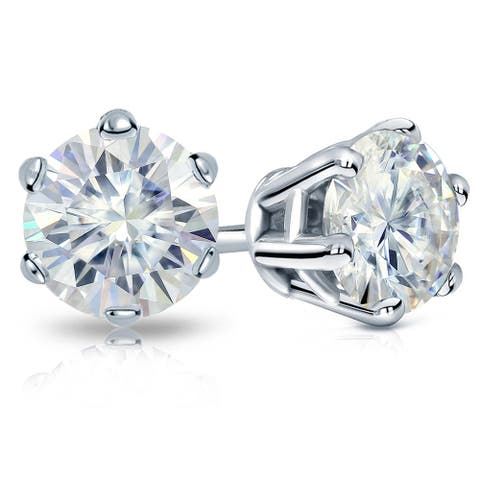 Auriya 2ctw Round Moissanite Stud Earrings 14k Gold - 6.5 mm