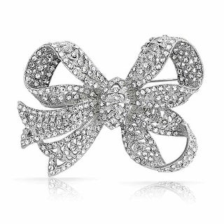 Bling Jewelry Clear Crystal Ribbon Bridal Brooch Bow Pin Silver Plated