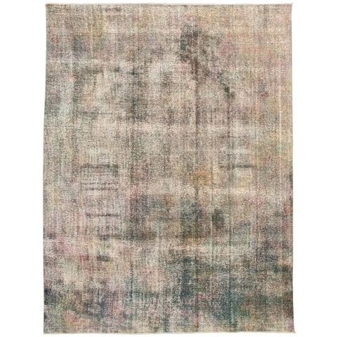 """Hand-knotted Color Transition Green, Grey Wool Rug - 9'2"""" x 12'2"""""""