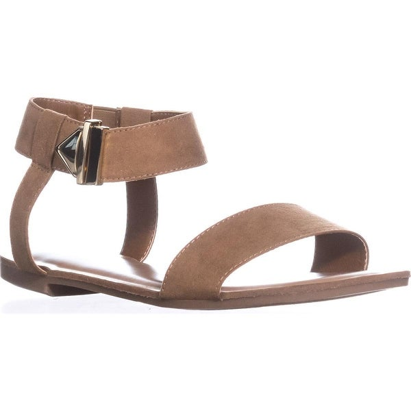 B35 Victor Ankle Strap Flat Sandals, Dark Tan