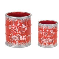 "Pack of 8 Red and Gray Merry Christmas Cylindrical Containers 6.25"" - WHITE"