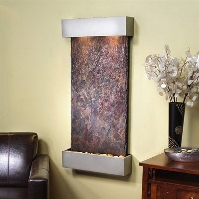 Adagio Whispering Creek With Rajah Natural Slate in Silver Metallic Finish Fount