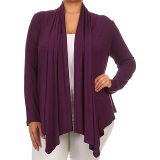 Women Plus Size Long Sleeve Jacket Casual Cover Up Purple