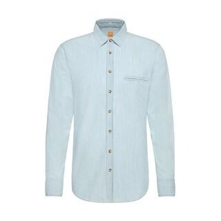 Hugo Boss Orange Elvedge Cotton Denim Sport Shirt Regular Fit-Large