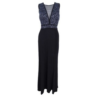 Nightway Women's Illusion Glitter A-Line Gown - Charcoal/Black