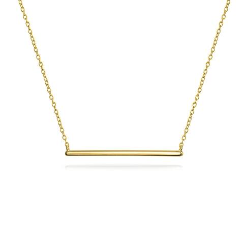 Thin Minimalist Sideways Horizontal Round Station Bar Pendant Necklace For Women For Teen 14K Gold Plated 925 Silver