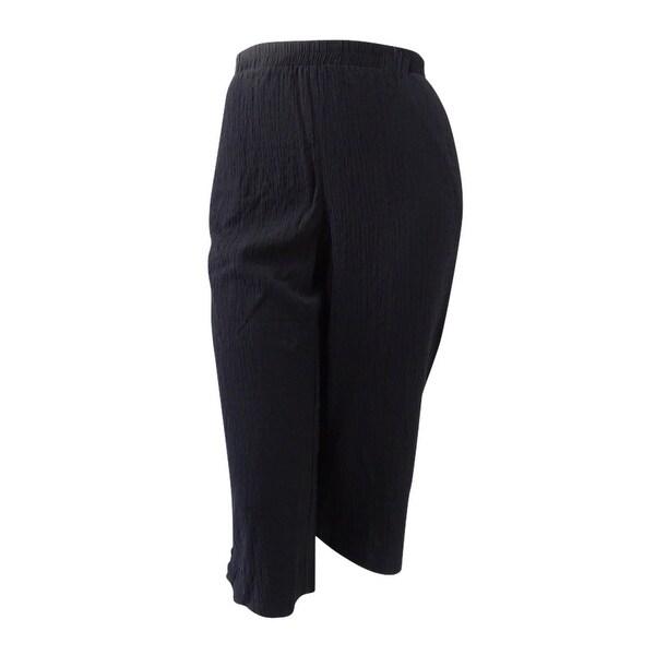 JM Collection Women's Plus Size Lattice-Hem Capri Pants (2X, Deep Black) - Deep Black - 2x